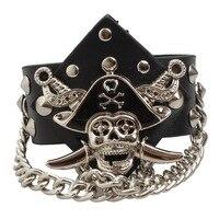 Dobra Jakość W Stylu Punk Metalowe Ćwieki i Pirate Skull Black Leather Bransoletka