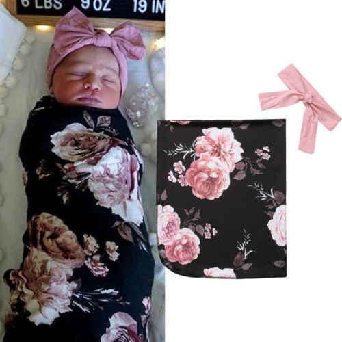Новорожденный малыш для маленьких девочек мальчиков младенческой Цветочные Акула Одеяло пеленать муслин Обёрточная бумага Пеленание спальный мешок Головные уборы комплект из 2 предметов