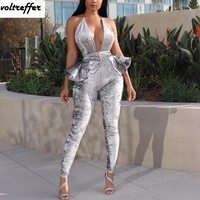 Backless Halter Jumpsuits For Women 2019 Velour Velvet Rompers Sexy One Piece Outfits Long Pants Peplum Ruffles Bodycon Bodysuit