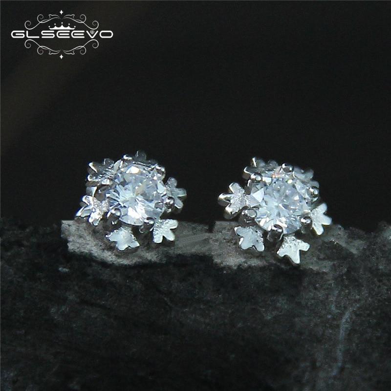 GLSEEVO 925 ստերլինգ արծաթե Snowflake Stud - Նուրբ զարդեր - Լուսանկար 1