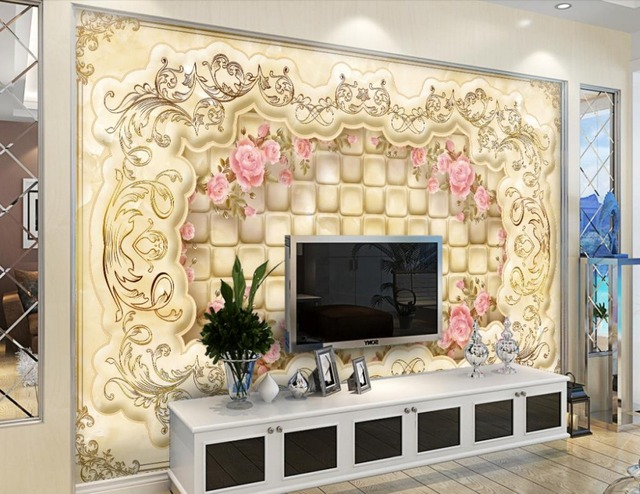 Home Decoration 3d murals wallpaper for living room European style ...