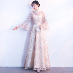 Champagne Bell Sleeve Oriental Style Dresses Chinese Bride Vintage Traditional Wedding Cheongsam Dress Long Qipao Plus Size 3XL