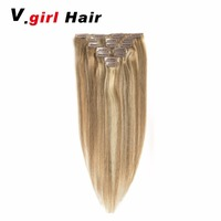 V.Girl Hair Machine Made Remy Straight Clip In Human Hair Extensions 100G 120G 100% Human Hair Clips In 12/613# Color