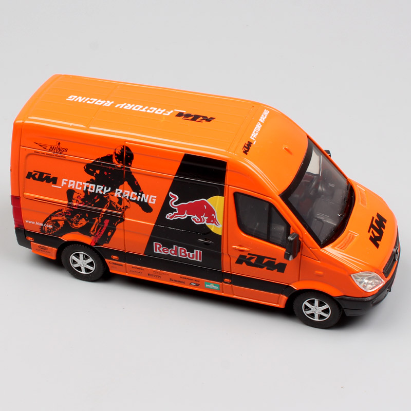 1:38 Scale Joycity Red Bull KTM Factory Racing Team SPRINTER MOTOCROSS Mini Van Diecast Metal Models Pull Back Auto Cars Toy Boy