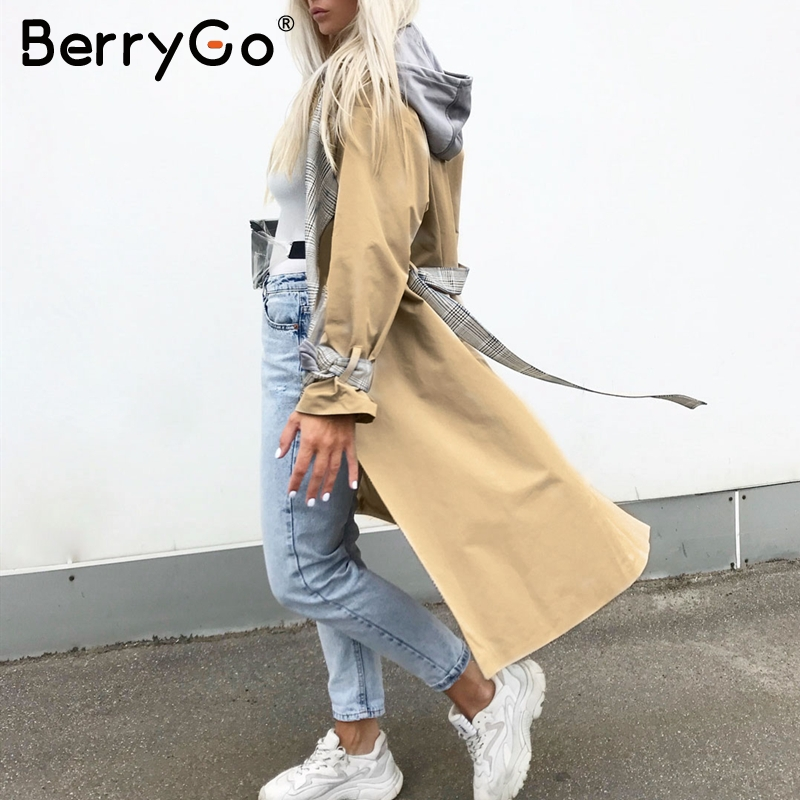 BerryGo Turn down collar women trench coat Vintage sashes plaid autumn winter long outwear Belt pockets office ladies overcoats 5