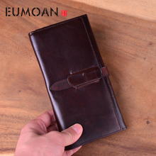 EUMOAN Leather clutch bag for men and women long large-capacity business casual fashion banknotes according to the card holder f