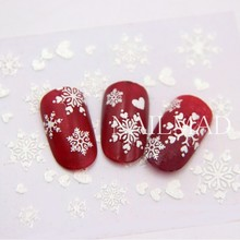 1 גיליון מדבקות חג מולד שלג פתית שלג לבן מדבקות ציפורניים 3D דבק מדבקה