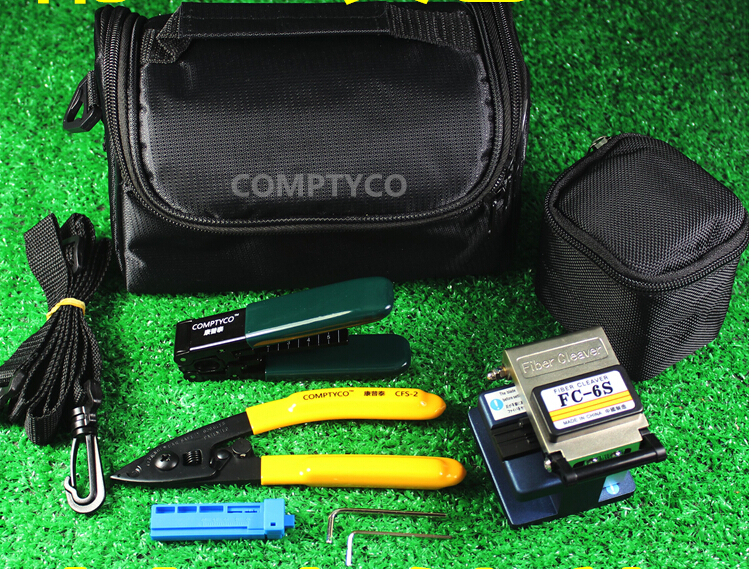 Fiber Optic Termination Kit With FC-6S Fiber Cleaver And CFS-2 Stripper And FTTH Drop Cable Stripper