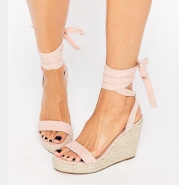 5f0b2592b Khaki Rope Wedge Heels Women Sandals Ankle Wrap Platforms Shoes Ladies  Daily Wear Shoes 2017 New Summer Style Size 12 Heels