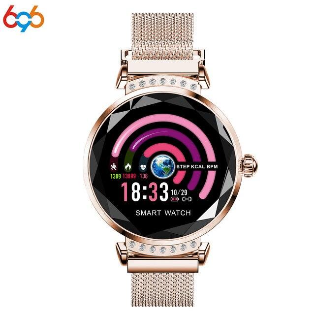 223d2522887e 696 H2 inteligente reloj de pulsera de Fitness las mujeres smartwatch  sangre presión Monitorización del ritmo cardíaco pulsera reloj de señora ...