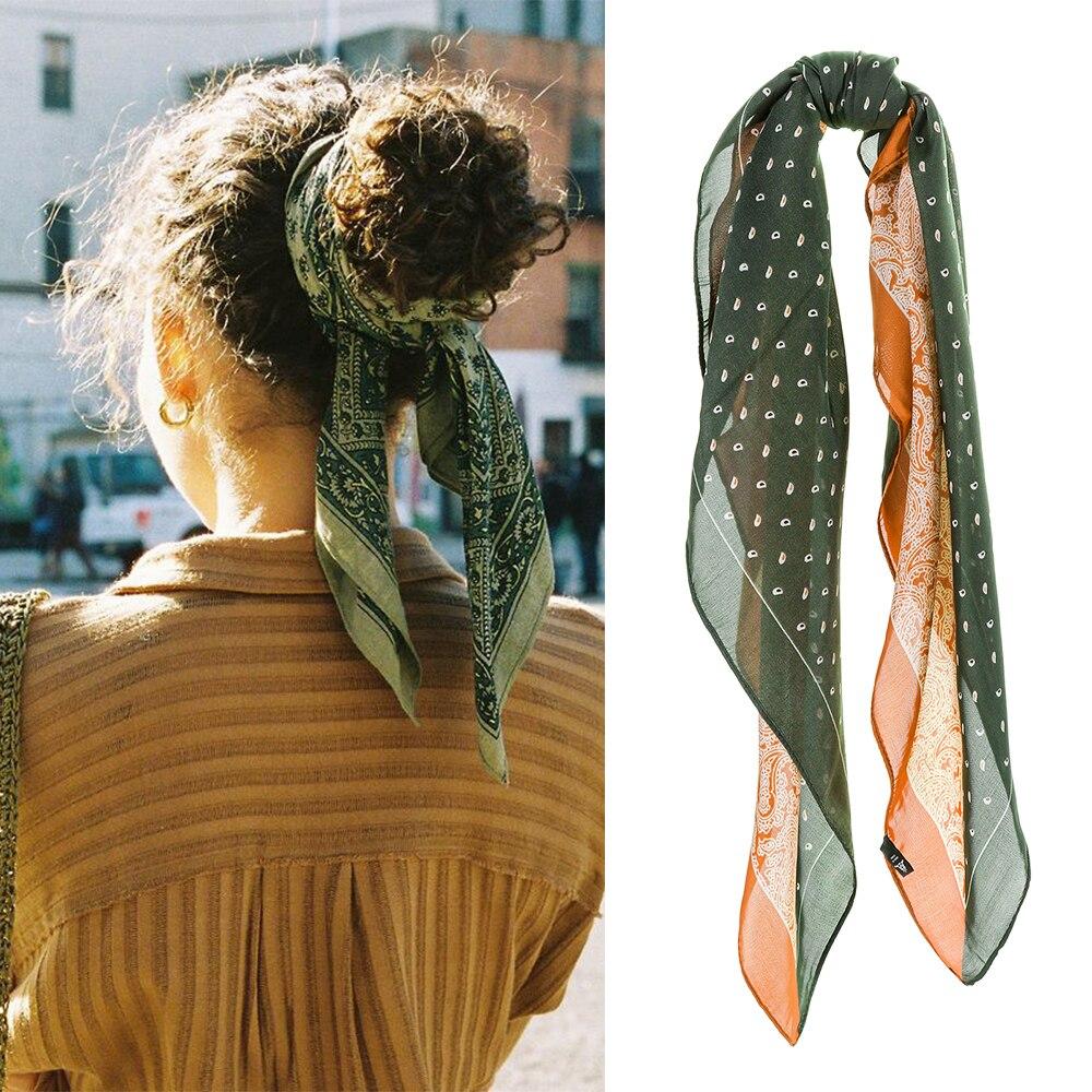 Haimeikang Retro Silk Square Hair Scarf Bandanas Women Girls Hair Accessories Amoeba Print Hairbands Bow Scrunchies Hair Rope