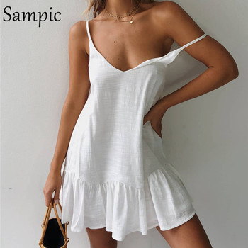Sampic Backless Sundress Women Mini Dress Ruffle Spaghetti Strap Casual White Linen Dress Sleeveless Beach Summer Dresses 2019