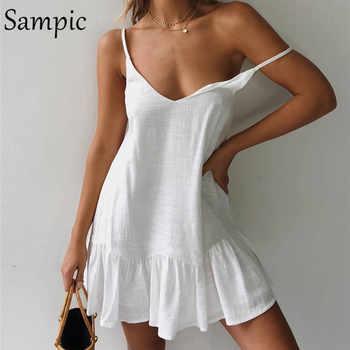 Sampic Backless Sundress Women Mini Dress Ruffle Spaghetti Strap Casual White Linen Dress Sleeveless Beach Summer Dresses 2019