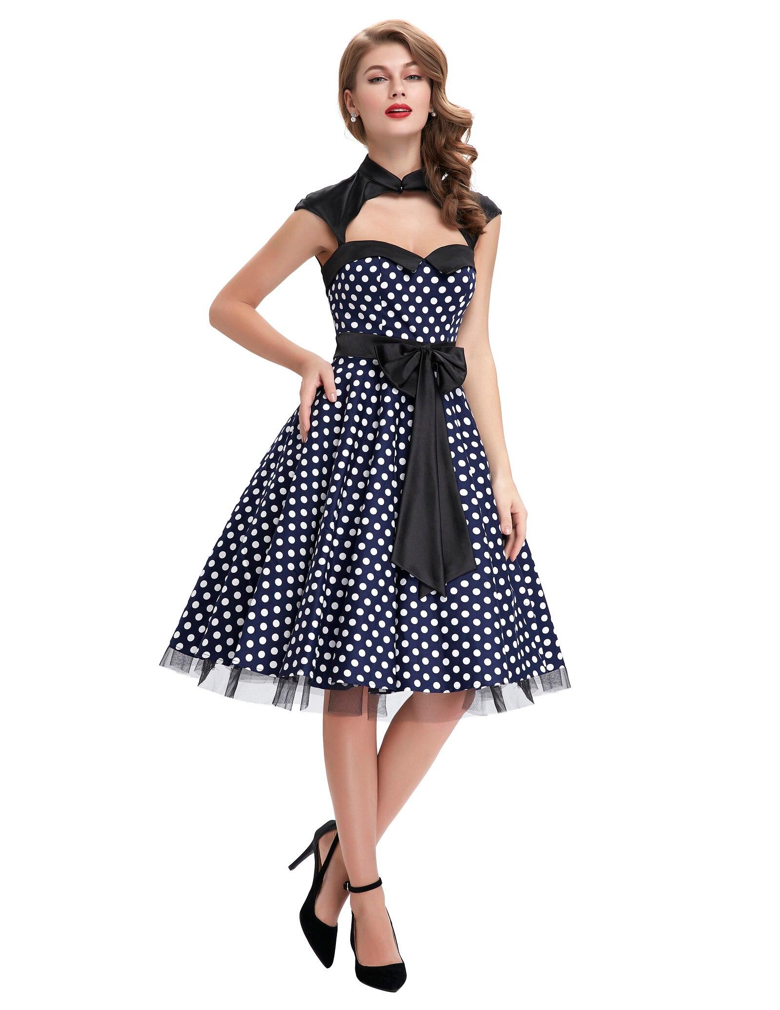 Chaud femmes à pois évidé grand nœud-noeud rétro Vintage fête pique-nique robe