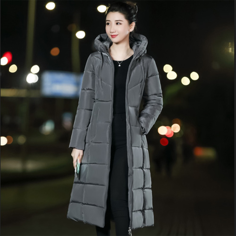 Long Slim   Down     Coat   Women Winter M-6XL Plus Size Hooded   Down   Jacket Warm Cotton Clothes Zipper Pocket Fashion Elegant Women   Coat