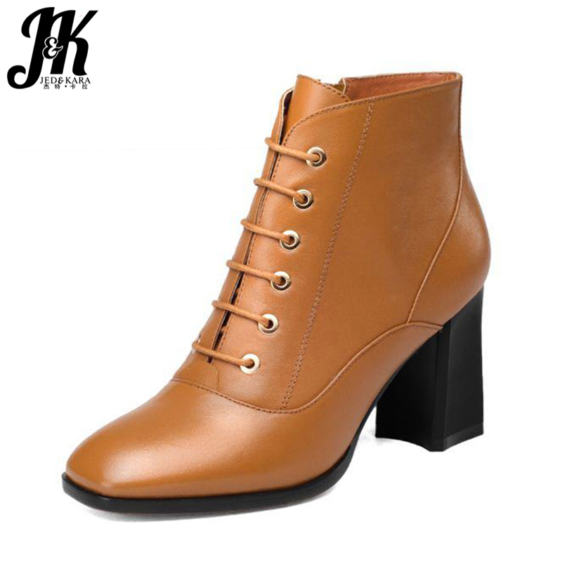 High Quality Women Boots Genuine Leather Shoes Woman Square Toe Thick Heels Ankle Boots Add Fur Fall Winter Boots Big Size 34-43 big size 34 43 fashion rivets skid proof ankle boots square high heels platform shoes fall concise winter boots shoes woman