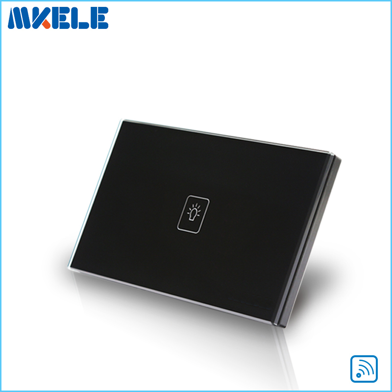 Remote Control Wall Switch US Standard  Remote Touch Switch Black Crystal Glass Panel 1 Gang 1 way with LED Indicator 2017 free shipping smart wall switch crystal glass panel switch us 2 gang remote control touch switch wall light switch for led