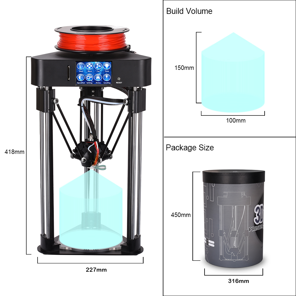 BIQU Magician High precision 3D Printer Mini kossel delta printer Fully Assembly 2.8 inch Touch Screen with 1.75 pla filament pre sale biqu magician full assembly desktop 3d printer 2 8 inch touch screen titan extruder 32 bits control board kossel delta