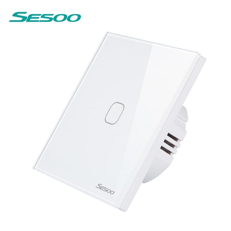 Interruptor táctil SESOO 1/2/3 Gang 1 manera interruptor de pared impermeable del interruptor ligero del tacto Panel de vidrio templado lámpara LED interruptores