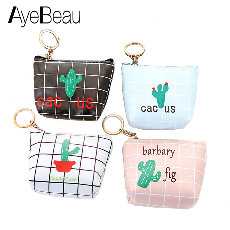 Cute Cactus Little Canvas Small Female Change Coin Purse Women Wallet Bag Zipper Pouch Coin Case For Child Girl Mini Kashelek
