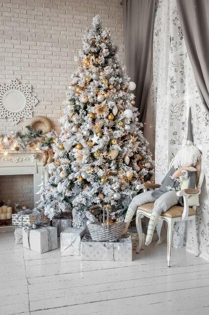 free shipping vinyl christmas indoor photo backdropselegant white christmas tree ornaments backdrop photography sd179 - White Christmas Tree Ornaments