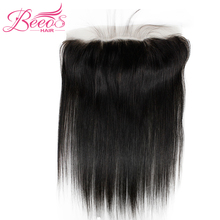 BEEOS Hair Straight Pre Plucked 13*4 Lace Frontal Closure Peruvian Remy Human Hair Closure Natural Black Color 8-20″