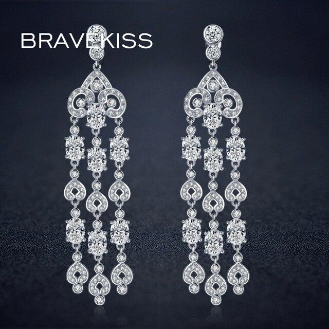 Bravekiss luxury aaa zirconia tassel earring chandelier for women bravekiss luxury aaa zirconia tassel earring chandelier for women long chain dangle drop fringe earrings bincos aloadofball Images