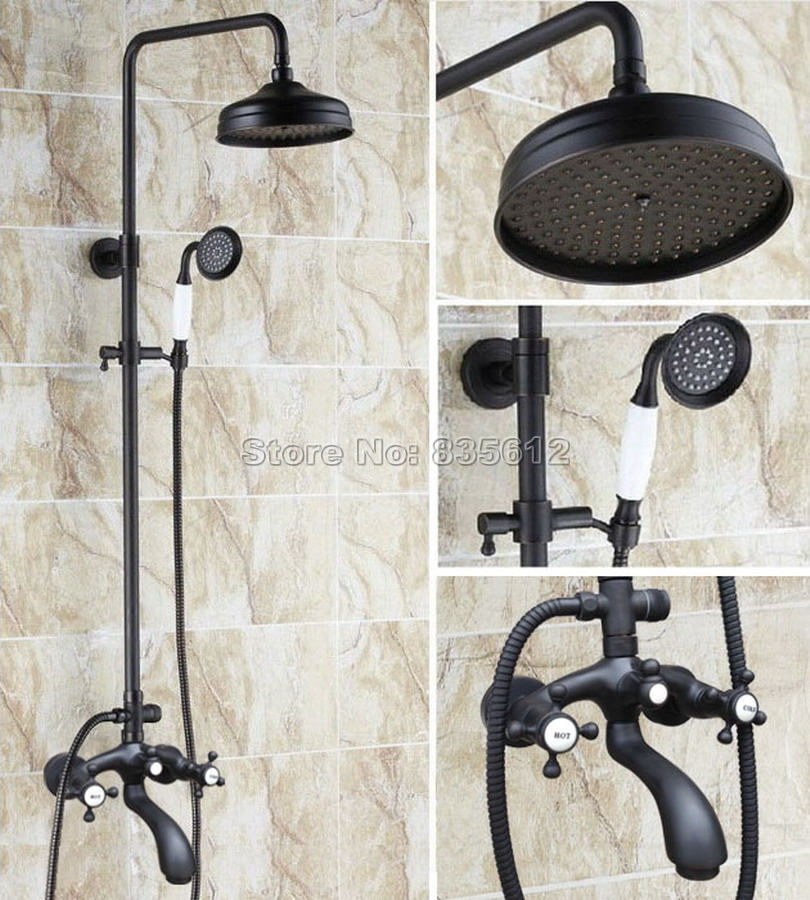 Black Oil Rubbed Bronze Wall Mounted 8 inch Shower Head Bathroom Rain Shower Faucet Set with Bathtub Mixer Tap Whg112