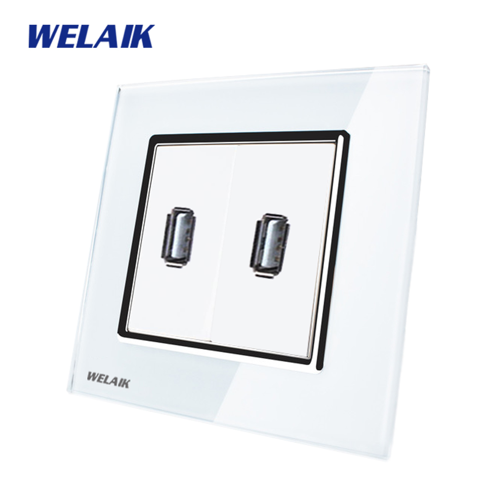 WELAIK  Freeshipping Crystal Glass Panel 1Frame EU White Black USB Socket USB outlet USB charging power supply A182USW/B