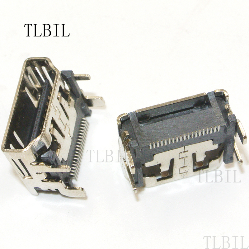 100PCS 19pin HDMI Female Jack Connector Type-A SMT SMD 180 Degree PCBs Soldering