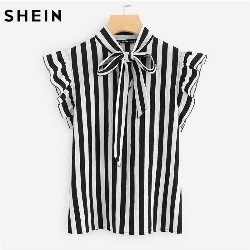 Шеин летний топ элегантная работа для женщин блузки для малышек кепки рукавом черный и белый галстук средства ухода за кожей Шеи