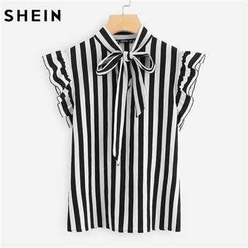 SHEIN ฤดูร้อนทำงานผู้หญิงหมวกสีดำและสีขาว Tie คอผีเสื้อเสื้อ Workwear เสื้อลาย