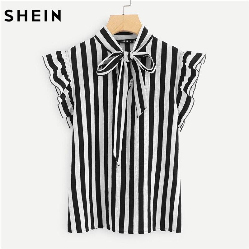 SHEIN Sommer Top Elegante Arbeit Frauen Blusen Flügelärmeln Schwarz und Weiß Krawatte Schmetterling Sleeve Arbeitskleidung Gestreifte Bluse