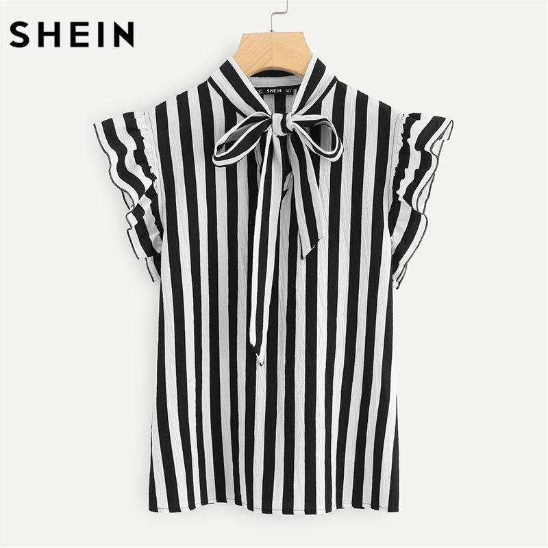 f84b91693ef317 SHEIN Summer Top Elegant Work Women Blouses Cap Sleeve Black and White Tie  Neck Butterfly Sleeve Workwear Striped Blouse