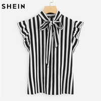 SHEIN Summer Top Elegant Work Women Blouses Cap Sleeve Black And White Tie Neck Butterfly Sleeve