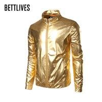 Baseball Coat Nightclub Trend Metallic Gold Shiny Jacket Men Veste Homme Fashion Brand Front-Zip Lightweight Bomber Jacket B2326