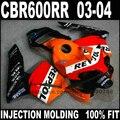 ABS Injection motorcycle part for 2003 2004 HONDA CBR 600 RR RR F5 fairings kit  CBR600RR 03 04 orange repsol fairing set