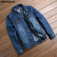 LEDINGSEN Rahat Mavi Skinny Ripped Jean Ceket Erkekler 2018 Slim Fit Moda Sıkıntılı Denim Ceket Kaban Vintage Kore Tarzı