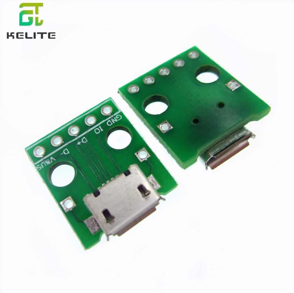 HAILANGNIAO 10 Uds MICRO USB A Adaptador DIP conector hembra de 5 pines Convertidor para placa de circuito impreso tipo B