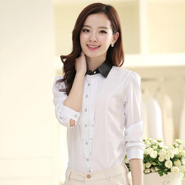 6c7fd4907ce2 € 22.47 |Mujeres moda de manga larga camisas casuales blusas frente cortina  elegante dama camisas de la gasa Tops ropa de trabajo en Blusas y ...