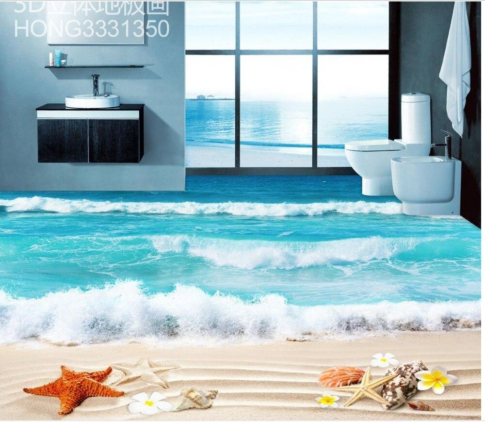 Floor wallpaper 3d for bathrooms beach 3d floor tiles Custom Photo ...