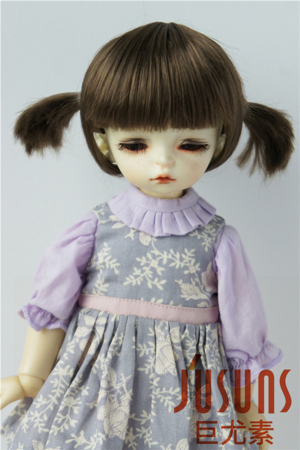JD387 1/12 1/6 Cute Two Pony BJD synthetic mohair wig size 3-4 inch and 6-7inch soft hair style fashion doll accessories jd199 1 8 1 6 cute lati doll wigs size 5 6 inch 6 7 inch fashion synthetic mohair bjd wig twin pony wig doll accessories