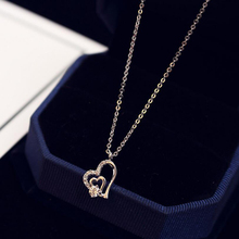 Chain Necklace White Gold Double Hollow Crystal Fashion Dainty Tiny Heart Shaped Pendant for Women Jewelry Accessories