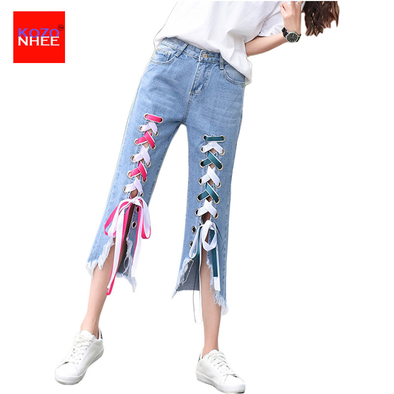 Color Ripped Jeans Women Washed Distressed With Torn  Calf-Length Jeans