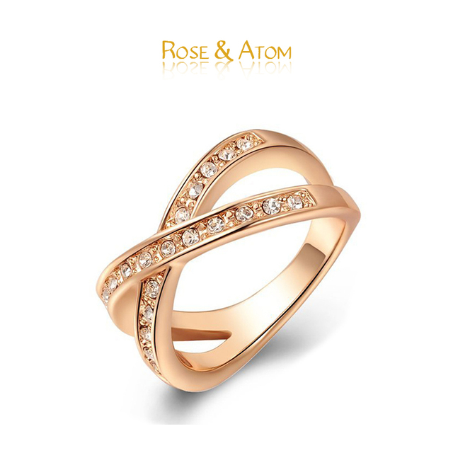 Promotions Crystal Ring Rose Gold Round Cross Wedding Jewelry For Women Alloy