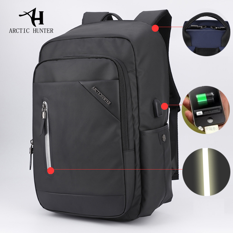 ARCTIC HUNTER Casual Computer Zipper Laptop Backpack External USB Charge Computer Backpacks Waterproof Bags for Men Women arctic hunter design 15 6 laptop backpacks men password lock backpack waterproof bag casual business travel backpack male b00208
