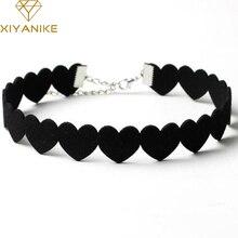 XIYANIKE Black Lace Choker Necklace Women Velvet Choker Love Heart Necklaces Chocker tattoo collares Collie ras