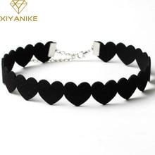 XIYANIKE Black Lace Choker font b Necklace b font Women Velvet Choker Love Heart font b