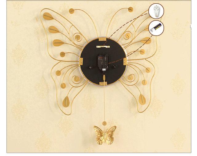 Online Shop Geekcook Golden Butterfly Wall Clock Living Room Modern ...