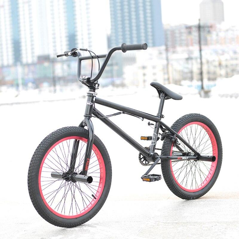 20 дюймов BMX велосипед стальная рама Производительность велосипед фиолетовый/красный велосипед шины для показать трюк Акробатический велосипед задний галантерейных улица велосипед